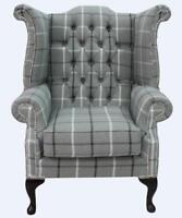 Chesterfield Queen Anne High Back Wing Chair Piazza Square Slate Grey Fabric