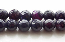 AAA 12mm Purple Agate Onyx Faceted Round Loose Beads Gemstone 15'' F-07