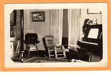 Real Photo Postcard RPPC - Parlor with Piano and Victrola - Music