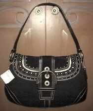 NWT COACH Black Mini Signature/Suede Leather Soho Stitched Flap F11517 $328