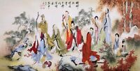 HANDPAINTED ORIGINAL ASIAN FINE ART CHINESE WATERCOLOR PAINTING-Eight immortals