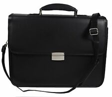 2 x Mens Leather PU Business Laptop Case Work Satchel with Combination Locks
