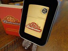 BUDWEISER BEER 125TH ANNIVERSARY BRASS ZIPPO LIGHTER NEAR MINT IN BOX 1329/6000
