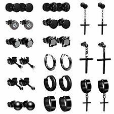 15 Pairs Men Women Stainless Steel Cross Stud Hoop Earrings Set Piercing Jewelry