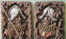 2 Spanish Conquestidor Knight Soldier Pictures Wood Carved Look 15x11 Homco 267