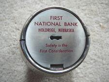 HOLDREGE NE NEB Nebraska - FIRST NATIONAL BANK - Vintage METAL BARREL COIN BANK