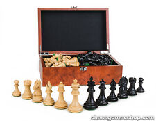 Luxury wooden CHESS pieces New York BLACK - weighted,felted-EXTRA queens-in BOX