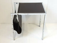 SIDE TABLE MAGAZINE RACK BROWN LEATHER & CHROME 1970 VINTAGE 70S 70'S