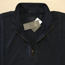 Abercrombie & Fitch T-Shirt Men's Long Slv. Half Zip Henley Tee Top XL Blue NWT