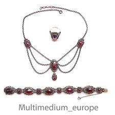 Granat Set Silber Collier Hals kette Armband Ring silver collier garnet Trachten
