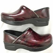 Dansko Professional Clogs Womens 37 6.5 -7 Patent Leather Burgundy