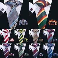 Classic Silk Mens Ties Blue Black Red Stripe Paisley Necktie Hanky Cufflinks Set