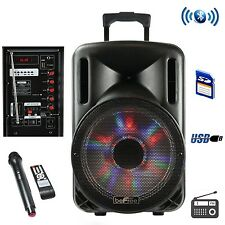 "NEW 12"" SUBWOOFER BLUETOOTH PORTABLE SPEAKER SYSTEM KARAOKE LIGHT MIC USB/SD/AUX"