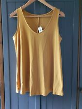 """WOMENS  YELLOW MUSTARD SWINGY STRETCHY VEST TOP SUN BEACH SIZE 12 36"""""""