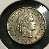 1931-B SWITZERLAND FIVE RAPPEN UNCIRCULATED COIN