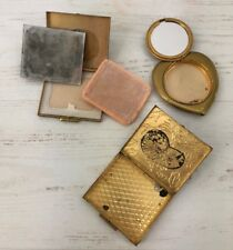 Vintage Makeup Mirror Compact Lot of 3 Heart Shape Square Gold Brass Tone