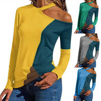 Fashion Cold Shoulder Long Sleeve Ladies Spring Casual T-Shirt Slim Tops Blouse