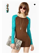 One Teaspoon 6 Heart of Glass Mini Dress Bodycon Stretch Leather Sleeves- $328
