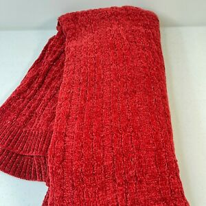 throw blanket red chenille standard size knit woven 38x70 classic traditional