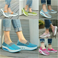 Women's Casual Sneakers Fitness Sport Shoes Weave Platform Slip-on Walking Shoes