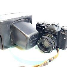 Zenit EM SLR 35MM RUSSIAN FILM CAMERA + Helios f2/58mm LENS + LEATHER CASE#315