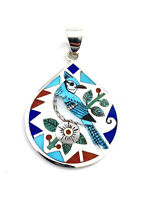 Large Sterling Silver Multi Stone Blue Jay Inlay Jose Campos Ring Size 7.5