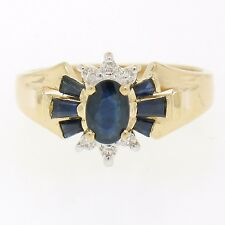 14k Solid Yellow Gold 0.90ctw Prong Set Oval & Baguette Sapphire Diamond Ring