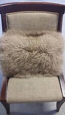 "Handmade Mongolian Fur 12""x20"" Rectangle Taupe Pillow Cushion Case & fabric back"
