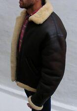 Vtg lamb sheepskin leather flying jacket men 42 medium large brown biker aviator