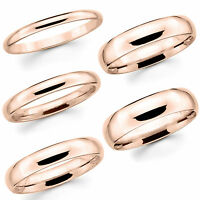 Solid 14K Rose Gold 2mm 3mm 4mm 5mm 6mm Comfort Fit Men Women Wedding Band Ring