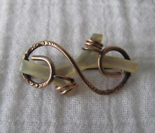 Antique Yellow Gold Plate Victorian Lover's Knot Mother of Pearl Branch Brooch