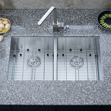 "30"" x 16"" Double Bowl Stainless Steel ZERO RADIUS Undermount Kitchen Sink COMBO"