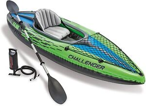 Intex Challenger K1 Kayak - 1 Person Inflatable Canoe Boat + Pump Oars Set - UK