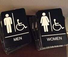 "6 x 9"" Men/Women Handicapped Braille Restroom sign  A.D.A. Compliant Made In USA"
