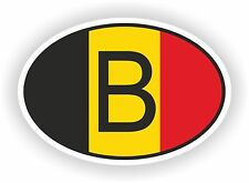 OVAL BELGIAN FLAG WITH B COUNTRY CODE STICKER BELGIUM MOTOCYCLE AUTO TRUCK