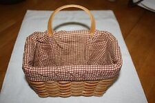 COUNTRY WOVEN COLLECTION - GRAND BASKET - SNAP ON BROWN CHECK CLOTH LINER