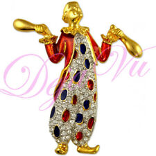 CRYSTAL TWO TONE CLOWN BROOCH PIN MADE WITH SWAROVSKI ELEMENTS