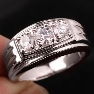 3-stone Men Sterling Silver Ring Size 10 Clear CZ Heavy Feel Christmas Gift