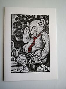 Rosemary Feit Covey Greeting Card Wood Engraving Teddy Bear Unused Holiday Lot 2