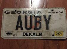 "Georgia License Plate Tag ""AUBY"" Dekalb County"