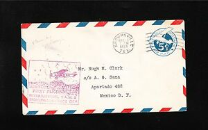 1st Flight Foreign Airmail Lindbergh Piloted Brownsville TX Mexico ONLY 538 ! z7