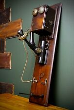 Western Electric & Kellogg 1800's Antique Oak Wall Crank BELL Telephone Co. Old