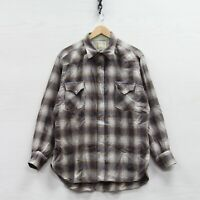 Vintage Pendleton High Grade Western Wool Button Up Shirt Size XL Gray Plaid 70s