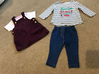 Baby Girls Colthes Bundle Leggings Top Dungaree Pinafore Dress 3-6 Months TU