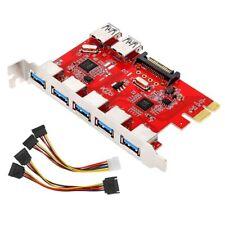 2 Port PCI-E 7-Port USB 3.0 Expansion Card Adapter 5 Port External Internal