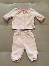 Baby Gap Soft Cotton Pink White Reversible Set Pants Top 0-3 Month