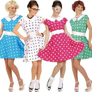 Ladies 50's Fancy Dress Costume Womens Rock n Roll Tea Dress Polka Dot NEW