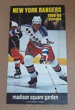 new york rangers & knicks pocket schedule 1988-1989 NHL