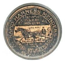 original Antique Harness Mender tin never opened 1886 patent date horse graphics