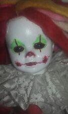 Scary Creepy Clown Glowing horror painted ooak porcelian dead doll